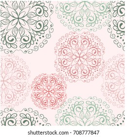 Seamless Invitation elegant luxury wedding card background Mahdi mandala flower floral Indian henna style.green pink retro vintage greeting abstract celebration anniversary decorative ceremony pattern