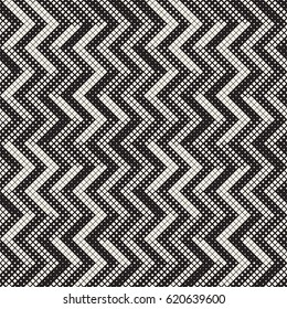 Seamless Irregular Geometric Pattern. Abstract Black and White Halftone Background. Vector Chaotic Rectangles Zigzag Texture