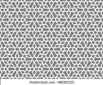 Seamless Islamic Lattice Pattern of 6 Point Stars and Hexagons.