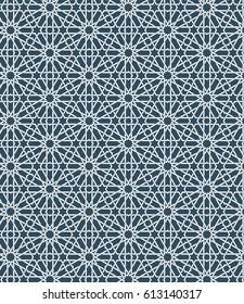 Seamless islamic Moroccan pattern. Arabic geometric ornament. Muslim texture. Vintage repeating background. Vector blue wallpaper. Oriental design and Ramadan wallpaper.
