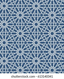 Seamless islamic Moroccan pattern. Arabic geometric ornament. Muslim texture. Vintage repeating background. Vector blue wallpaper. Oriental design and Ramadan wallpaper.