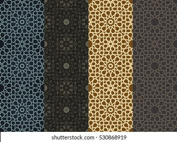Seamless islamic Moroccan pattern set. Arabic geometric ornament. square tiled texture. Vintage repeating background. Vector islam royal wallpaper. Oriental design and Ramadan wallpaper