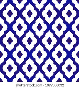 seamless Islamic pattern, blue and white modern shape for design, porcelain, chinaware, ceramic tile, ceiling design, texture, wall, paper and fabric, vector illustration