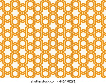 Seamless Islamic Pattern of Hexagons and Stars. The Shapes are separated by a thin Line.