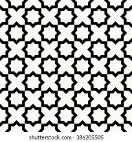 Seamless islamic pattern vector illustration, monochrome geometric pattern