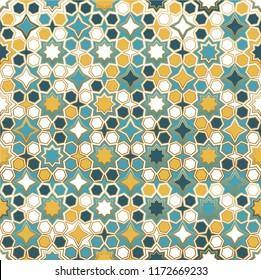 Seamless Islamic patterns in color. Islamic ornamental colorful detail of mosaic.Islamic pattern. arabic, east ornament, indian ornament, persian motif, 3D.  Ramadan Kareem gold greeting card, banner.