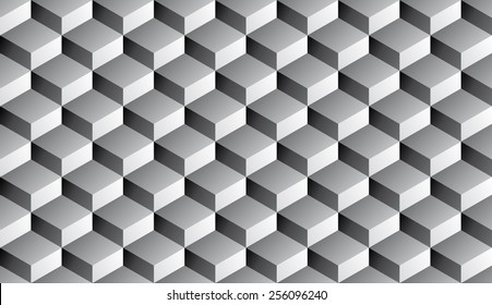 Seamless isometric grayscale gradient flattened cubes optical illusion pattern vector