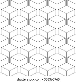 Seamless isometric pattern of cubes, vector linear background of delicate lines, black and white geometric contemporary ornament