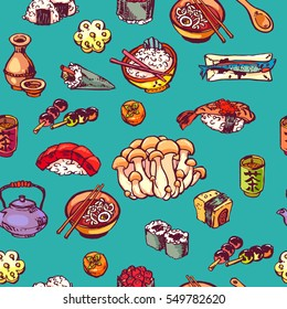 seamless Japanese food pattern, colorful asian kitchen background, vector illustration for print