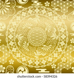 Seamless japanese modern gold background. Illustration vector.