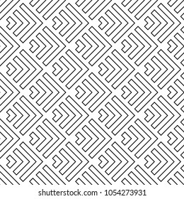 Seamless japanese mountains pattern. Repeated chevrons, angle brackets, curves background. Squama ornament. Scales image. Ancient window tracery motif. Digital paper for textile print. Vector art.
