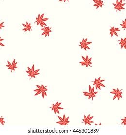 Seamless Japanese Pattern of some Maple Leaves Scattered Randomly.