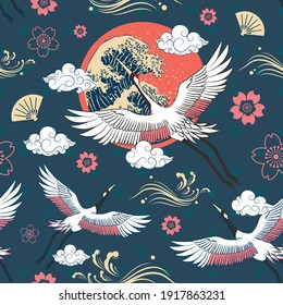 Seamless Japanese Repeat Pattern Colorful Theme with Flying Cranes with The Sun, Torrential Wave Graphic and Different Cloud Shape on  Diamond Pattern Background Template Design for Wrapping Paper
