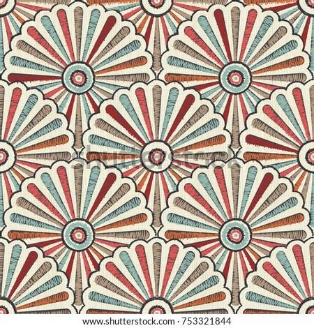 Seamless Japanese Vintage Pattern On Texture Stock Vector Royalty