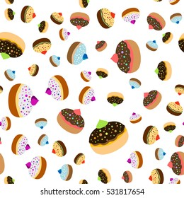 Seamless jewish pattern with colorful sufganiots for Festival of Lights, Feast of Dedication Hanukkah on white background. Vector illustration