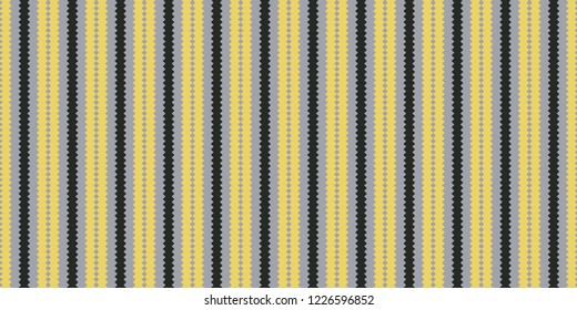 Seamless jigsaw vertical stripes pattern vector. Graphic design yellow and black on blue background. Design print for textile, wallpaper, background, paper. Set 6