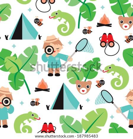 seamless jungle boy adventure illustration theme stock vector