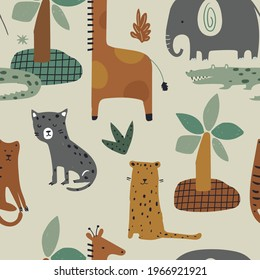 Seamless jungle pattern with funny animals: giraffe, elephant. tiger, leopard, crocodile  Hand drawn vector illustration. Creative kids for fabric, wrapping, textile, wallpaper, apparel.