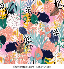 Seamless jungle pattern with panthers, colorful leaves, and hand drawn textures. Perfect for fabric,textile. Creative Vector background