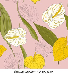 Seamless kala pattern with light yellow and white lily  flowers and  green long leaves on pink background.Modern calla  botanical nature design