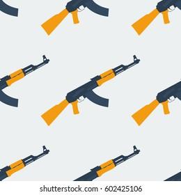 Seamless Kalashnikov ak47 pattern flat