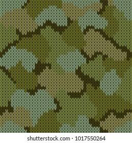 Seamless khaki pattern. Military forest knitting camouflage. Vector illustration.