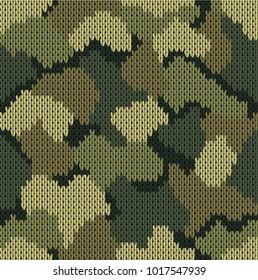 Seamless khaki pattern. Military knitting camouflage. Vector illustration.