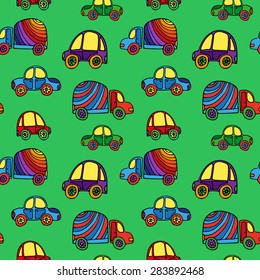 Seamless kids background with sketch cars. Vector illustration