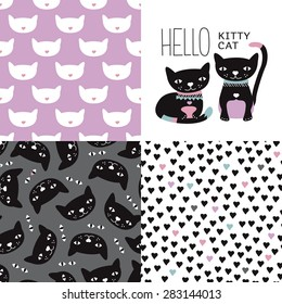 Seamless kids colorful girls kitten and cats postcard cover design and background pattern set with violet kitten hearts and halloween night black cats in vector