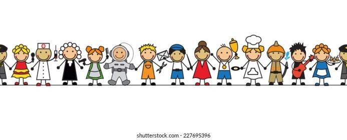 seamless kids in costumes professions standing in a row on a white background
