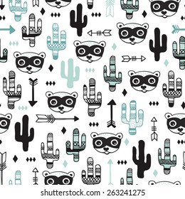 Seamless kids desert animal raccoon arrows and cactus garden illustration background pattern in vector