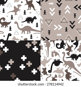 Seamless kids geometric dino triangles and dinosaur plus sign cross illustration background collection pattern in vector