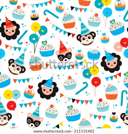 Seamless Kids Happy Birthday Boy Cupcake Garland Animals And Balloons Wrapping Paper Background Pattern In