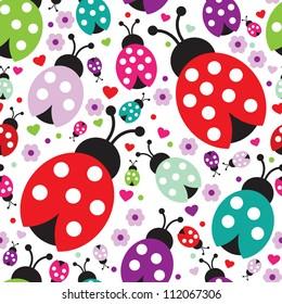 seamless kids lady bug polka dot illustration background pattern in vector