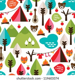 Seamless kids nature camping trip and wild animals background pattern in vector