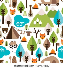 Seamless kids nature safari trip and wild animals background pattern in vector