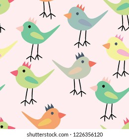 seamless kids pattern baby birds colorful for your design