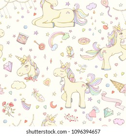 Seamless kids pattern. Hand drawn vector illustration of stars, candies, flowers, leaves, feathers, balloon, heart, rainbow, unicorns can be used for wallpaper, website background, wrapping paper.