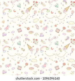 Seamless kids pattern. Hand drawn vector illustration of stars, candies, flowers, leaves, feathers, balloon, heart, rainbow can be used for wallpaper, website background, wrapping paper.