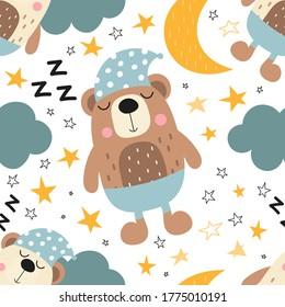 Seamless kids pattern for nursery decor, baby apparel, bedlinen. Cute sleeping bears, clouds, moon, stars. Vector illustration. Pattern is cut, no clipping mask.