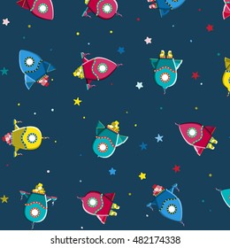 Seamless kids pattern rocket ships and stars in cartoon style. Childish background for textile. Fun kids background for scrap-booking. Vector illustration childish pattern.
