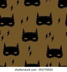 Seamless kids pattern with super hero mask