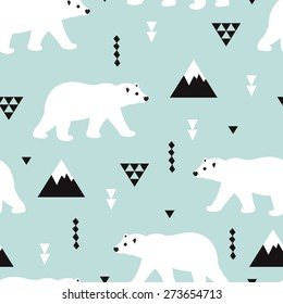 Seamless kids polar bear and geometric mountain arctic winter wonderland illustration pattern in ice blue background in vector