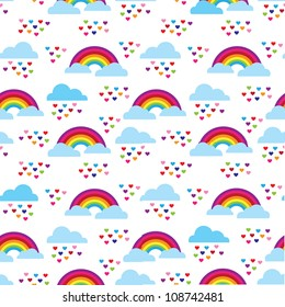 Seamless kids rainbow rain of love background pattern in vector