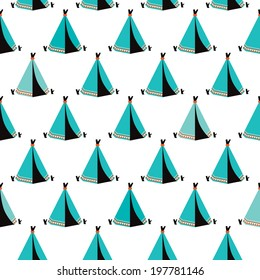 Seamless kids wigwam illustration blue indian background pattern in vector