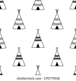 Seamless kids wigwam illustration. Cute indian background pattern in vector.