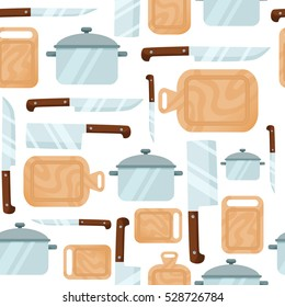 Seamless kitchen pattern on a white background