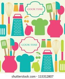seamless kitchen pattern. vector illustration