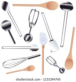 Seamless Kitchen Tools Pattern in Vector realistic  modern design