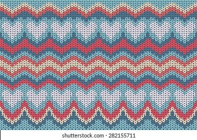 Seamless knitted background with blue hearts. Knitting style seamless texture. Vector background